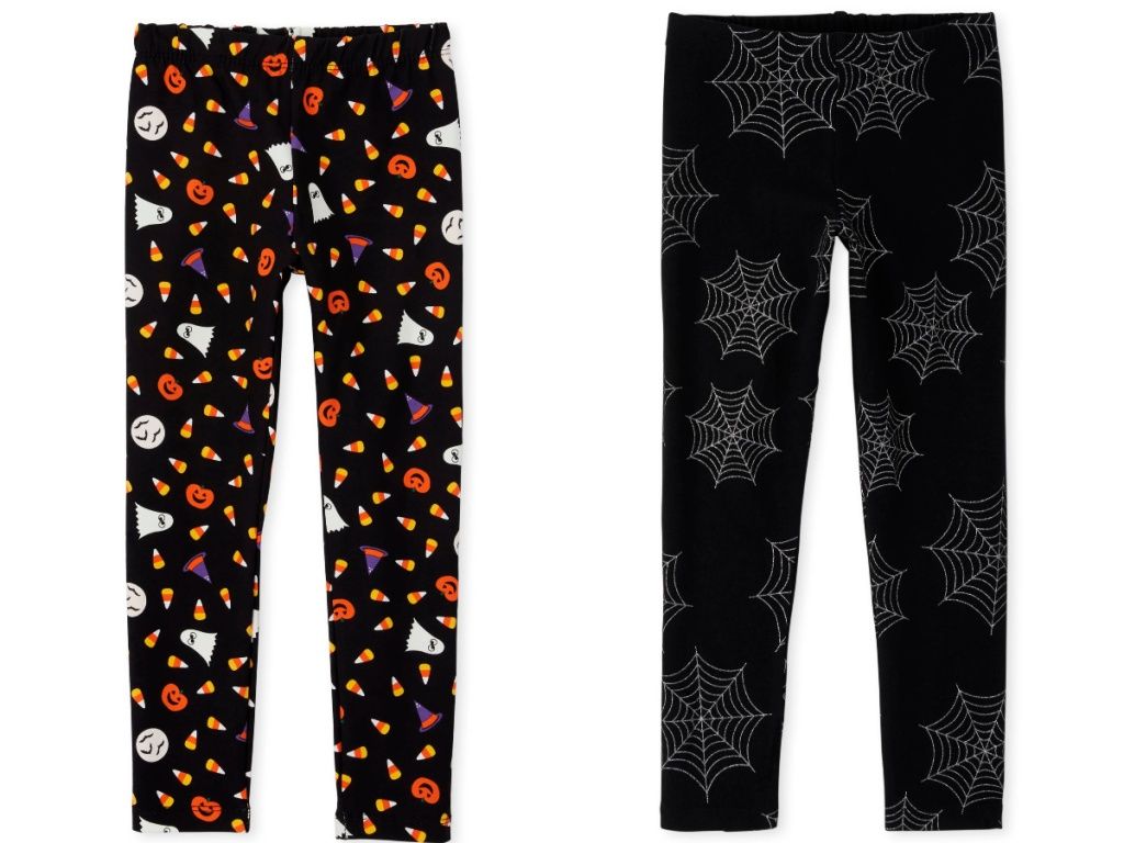 girls candy corn leggings and girls black spider web leggings