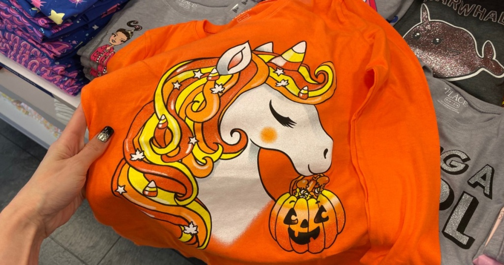 orange long-sleeve girls unicorn Halloween shirt in store