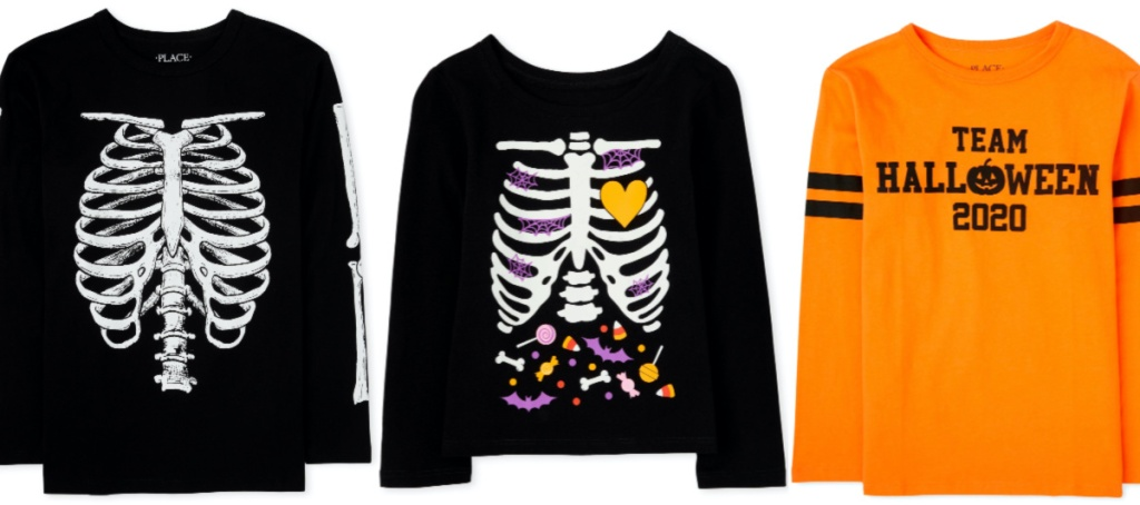 three kids Halloween themed shirts