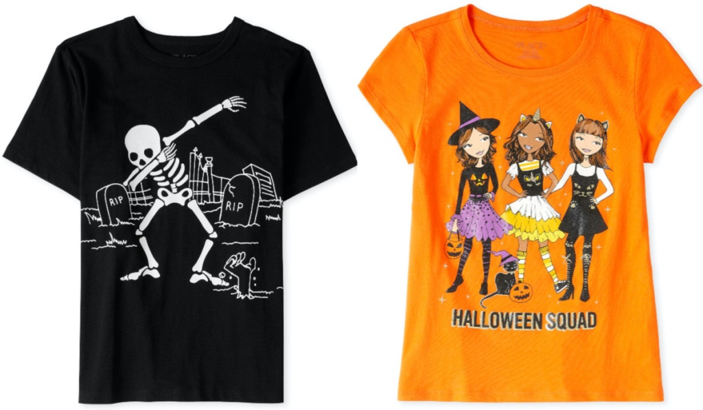 two kids Halloween themed shirts