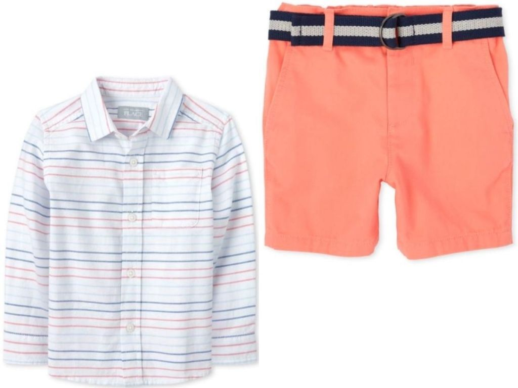 toddler button down shirt and shorts