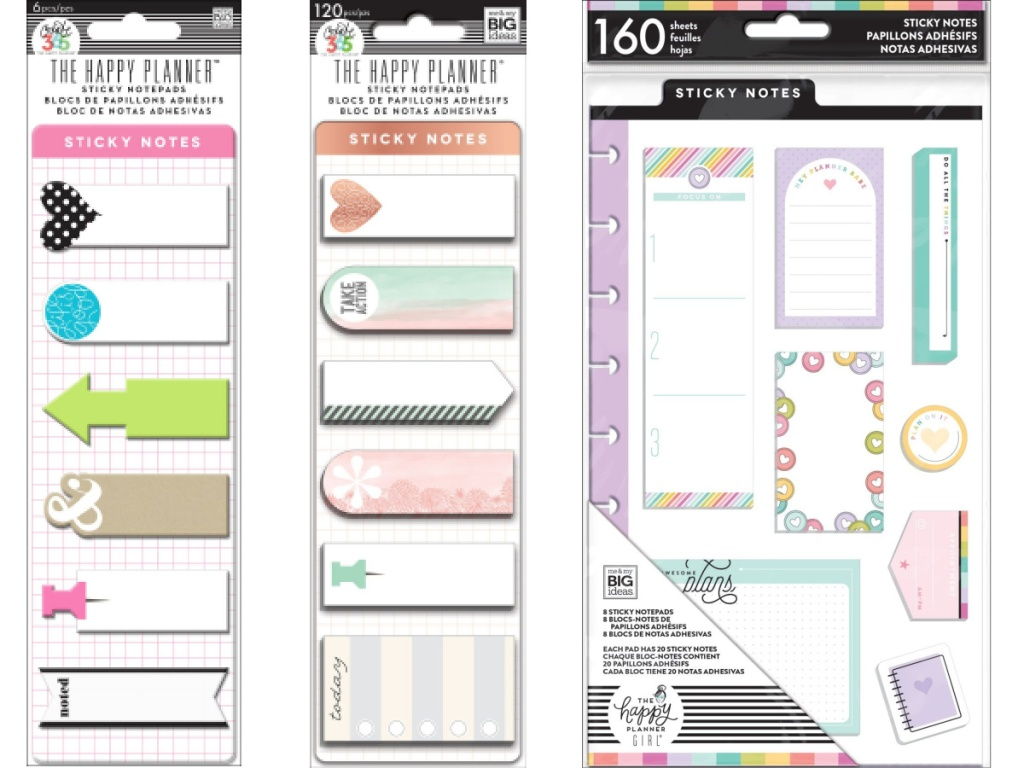 three planner sticky note sets