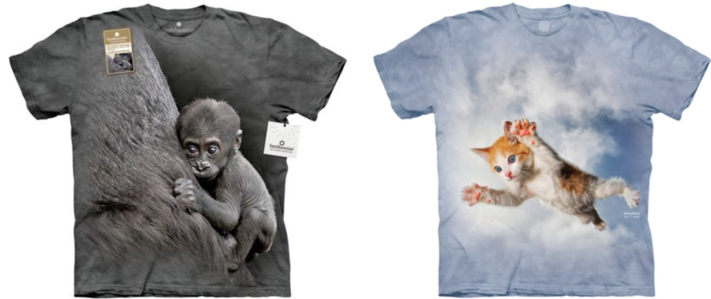 t-shirt with a baby gorilla and a baby kitten