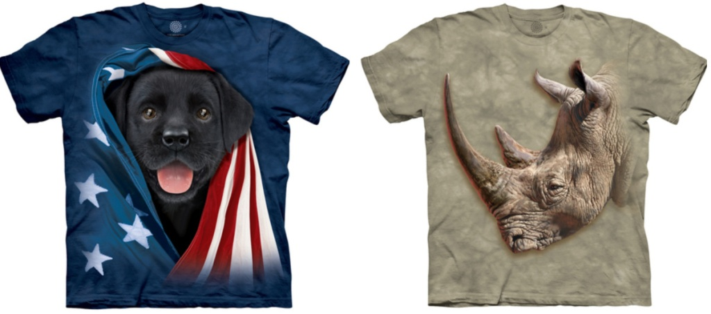 Patriotic tee with a black lab puppy and a tee with a big rhino