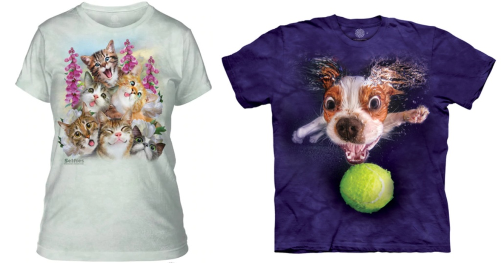 2 t-shirts with animals on the front