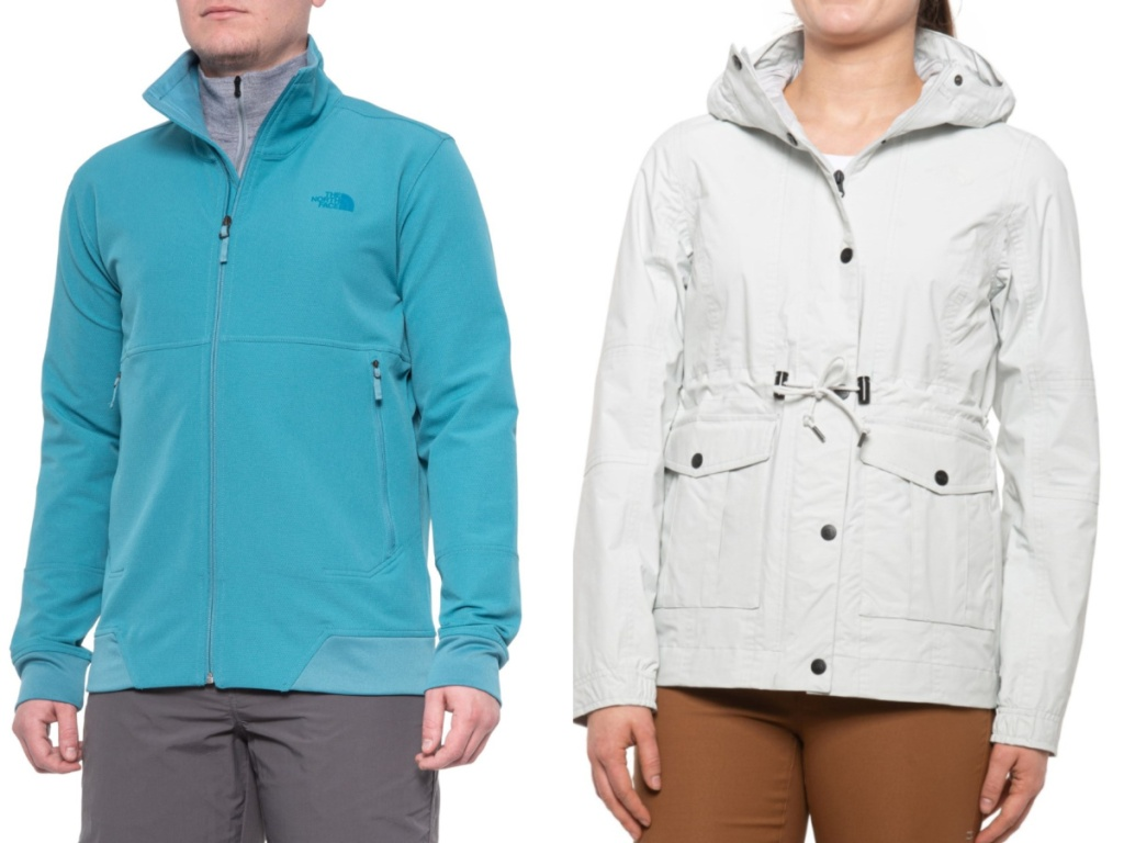 Man wearing a light teal jacket and women wearing a white cinched rain jacket
