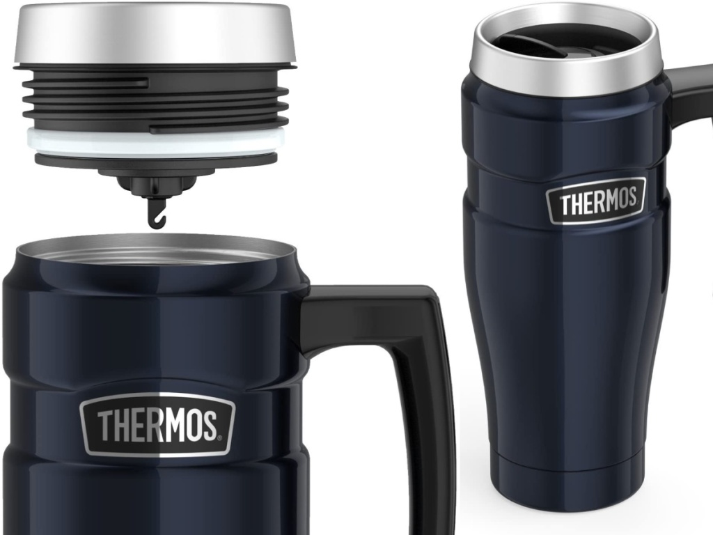 picture of thermos navy blue tumbler with lid showing tea hook