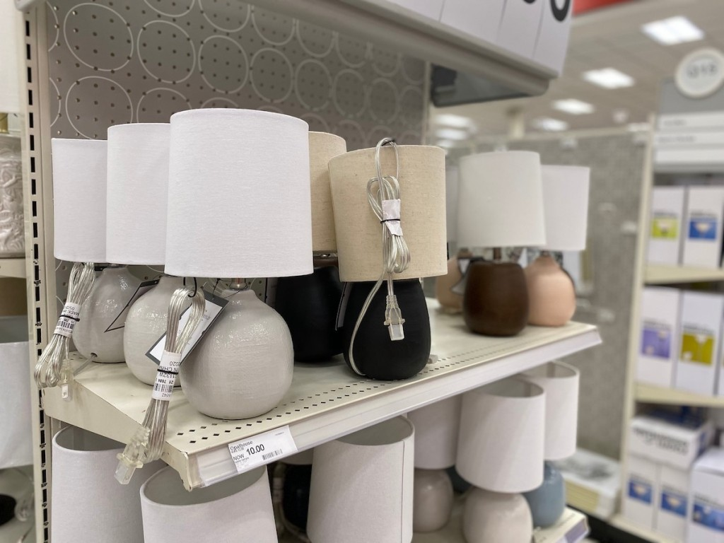 grey, black, brown, and light pink Threshold and Opalhouse Mini Accent Lamps