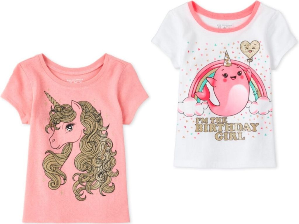 two girls short sleeve t-shirts