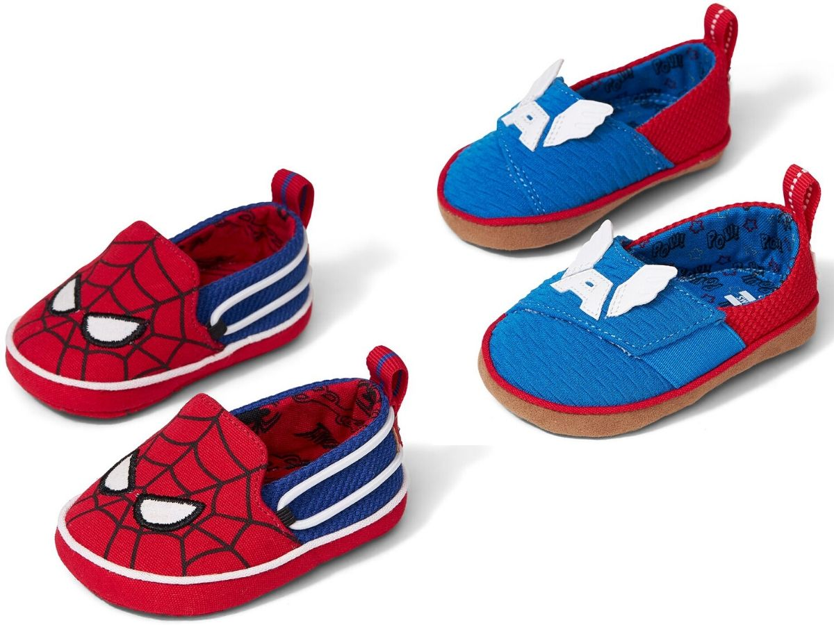 two pairs of crib shoes with marvel designs