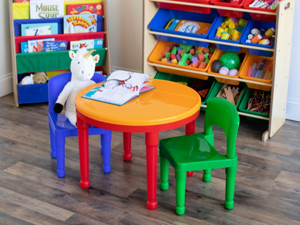 Tot Tutors Kids 2-in-1 LEGO-Compatible Activity Table and 2 Chairs Set