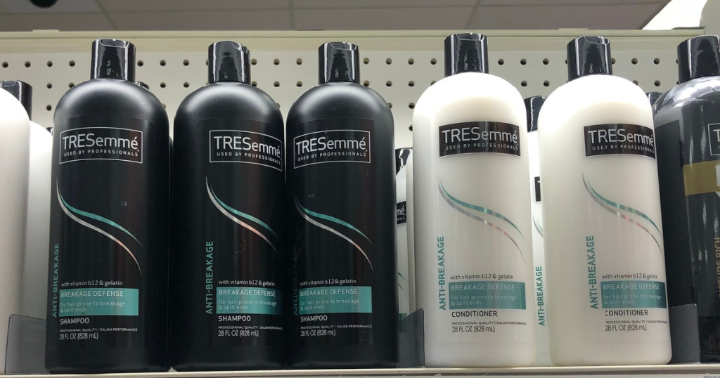 Tresemme Shampoo and Conditioner sitting on store shelf