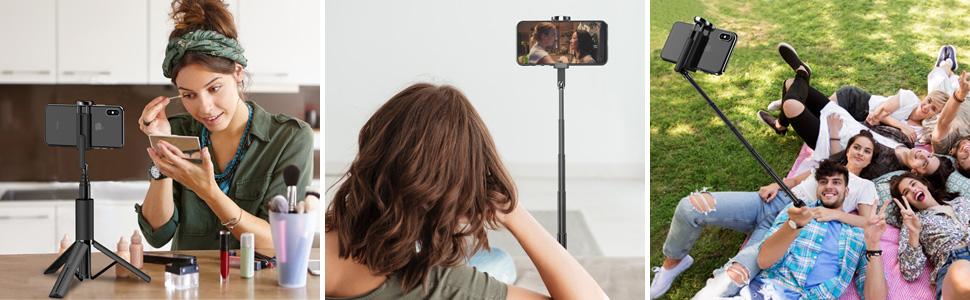 three images of people using selfie sticks