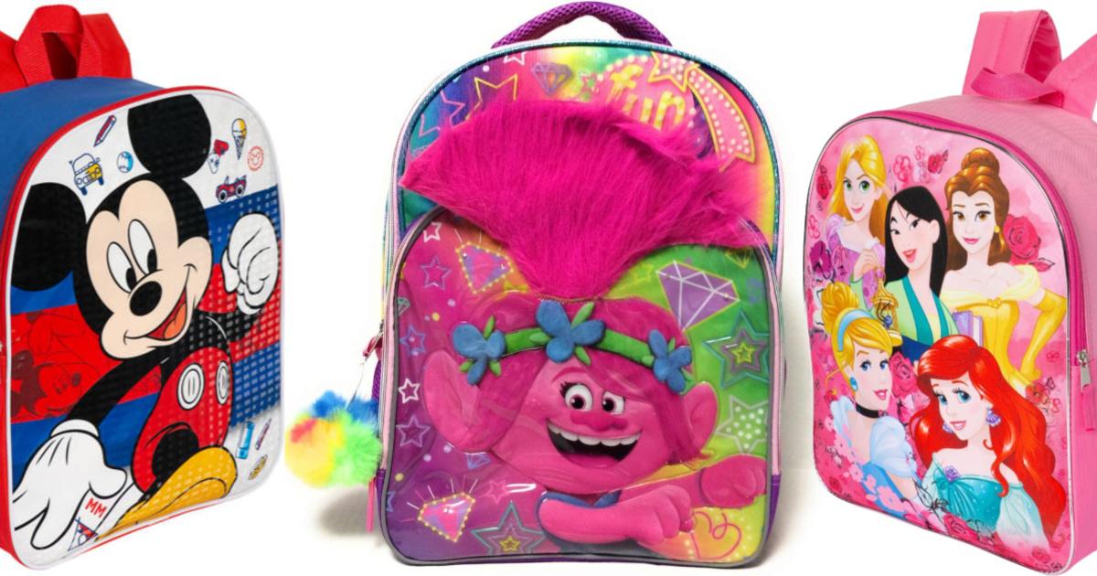 trolls, mickey mouse, and disney princess backpacks