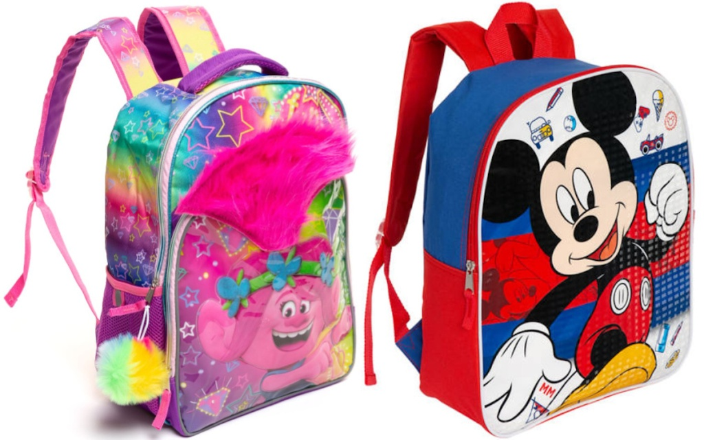 Trolls and Mickey Mouse kids Backpacks