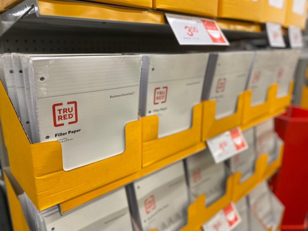 Tru Red Filler Paper in display bins at Staples
