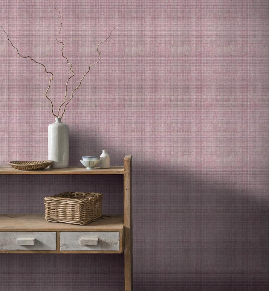 Tweed plum wallpaper on wall
