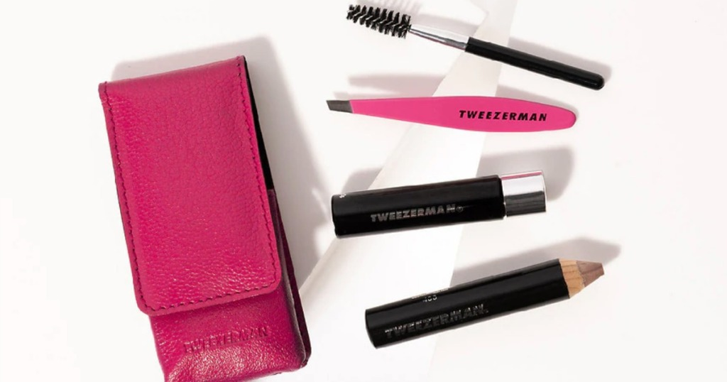 Tweezerman kit with tweezers, case and brush