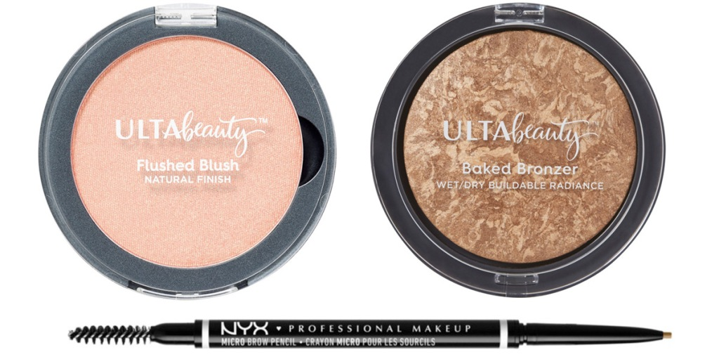 round ulta brand blush and bronzer and a double ended nyx brand eyeshadow pencil