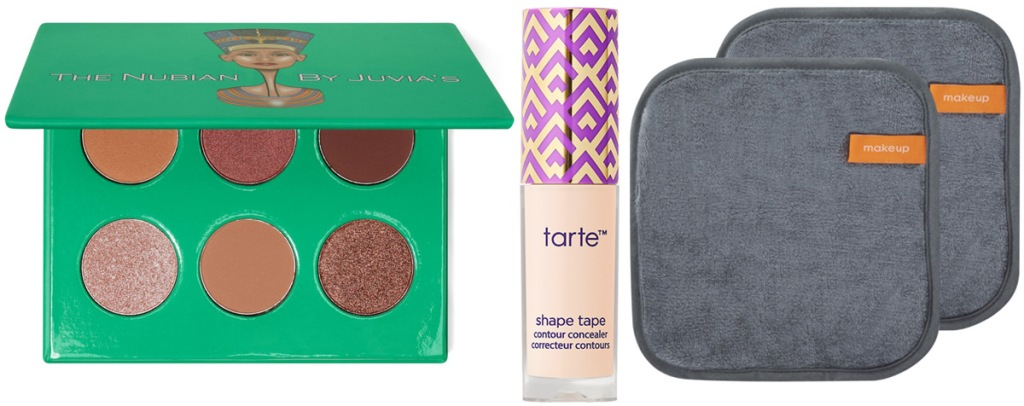 green eyeshadow palette with brown shadows, mini tarte shape tape concealer, and two grey makeup removing cloths with brown