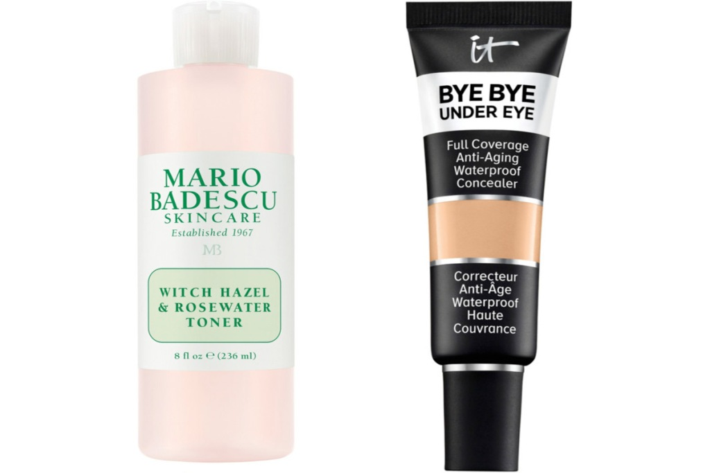 pink bottle of mario badescu rosewater toner and black bottle of it cosmetics concealer
