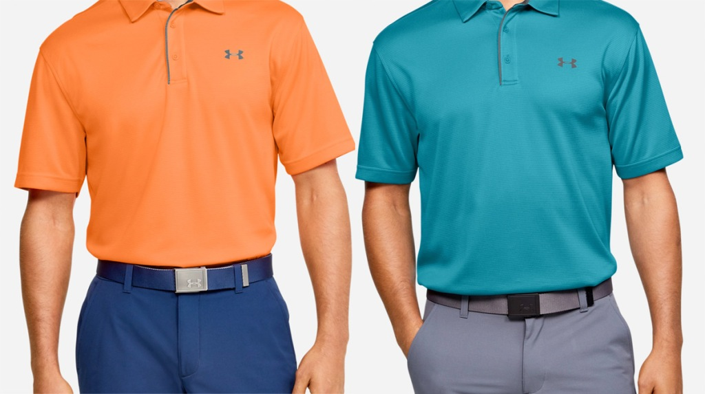 two men modeling under armour brand polo shirts in orange and teal colors