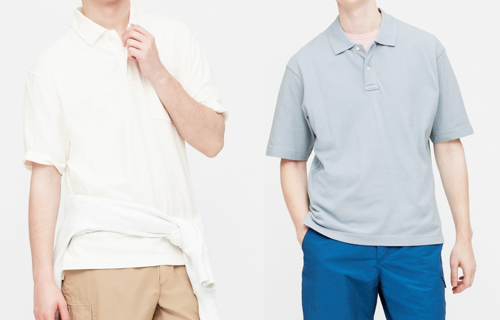 two men modeling polo tees in white and light grey colors