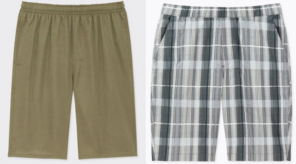pair of olive green mens shorts and blue and white plaid shorts