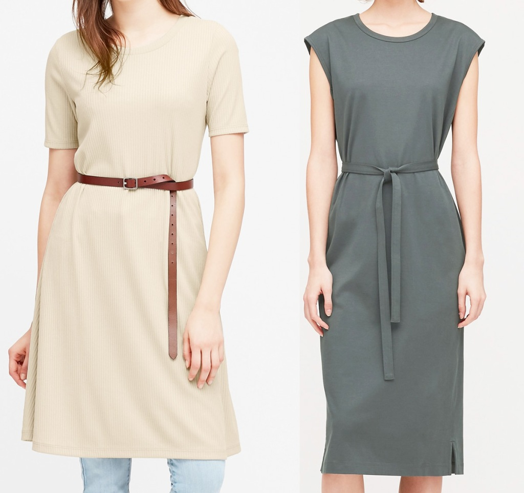 two women modeling belted dresses in white and grey colors