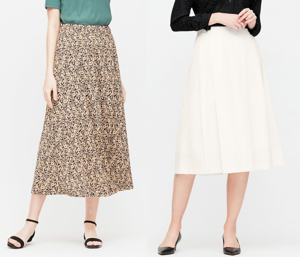 two women modeling skirts in brown and white print and solid white