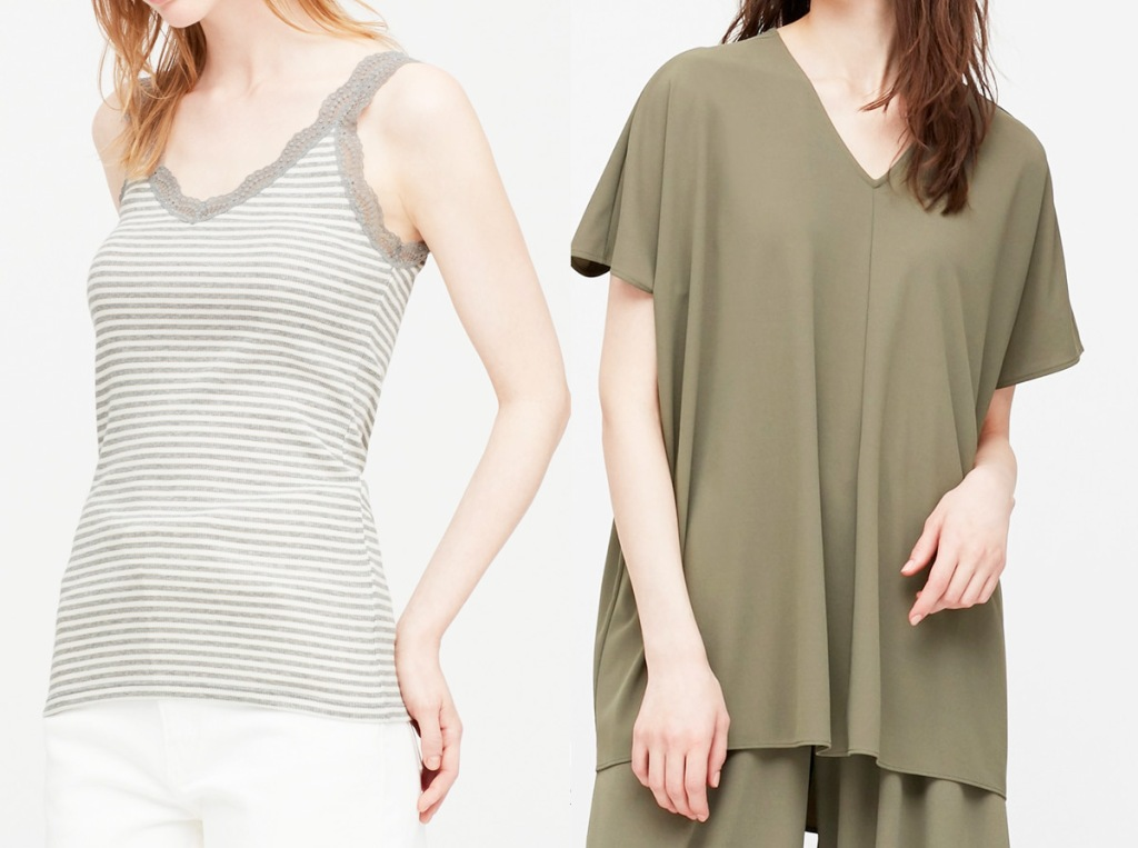 women modeling grey and white striped tank top and olive green flowy shirt