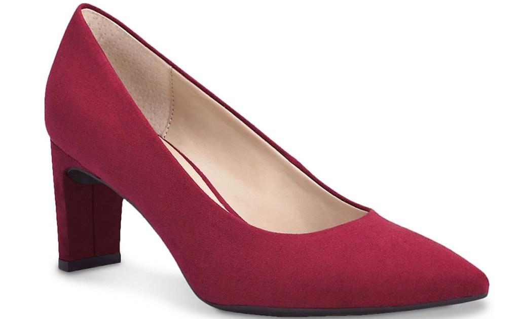 womens red pump sandal with block heel