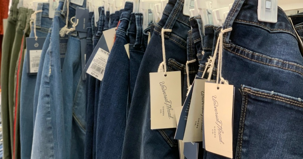 row of Universal Thread jeans