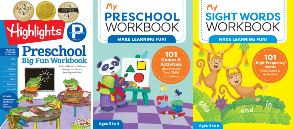 school workbooks three side by side