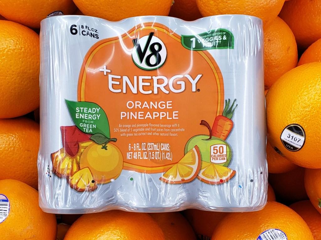 fruit/veggie energy drink pack on oranges