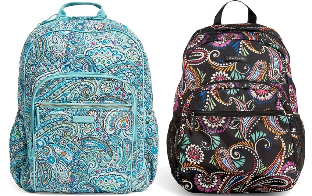 two backpacks with paisley prints in light blue and black colors