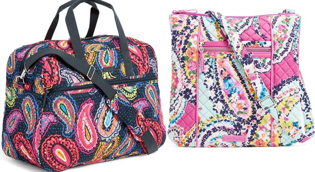 black with pink paisley print travel bag and print paisley print crossbody bag
