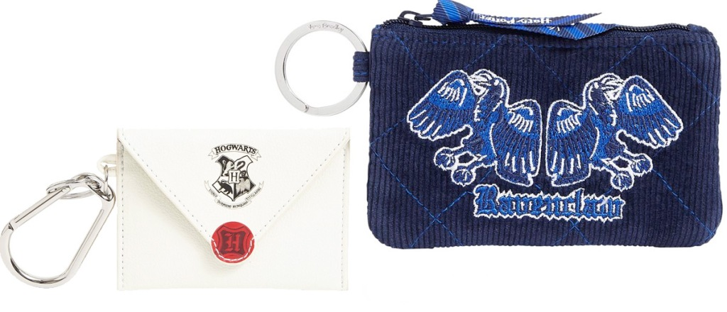 harry potter acceptance letter keychain and blue ravenclaw id case
