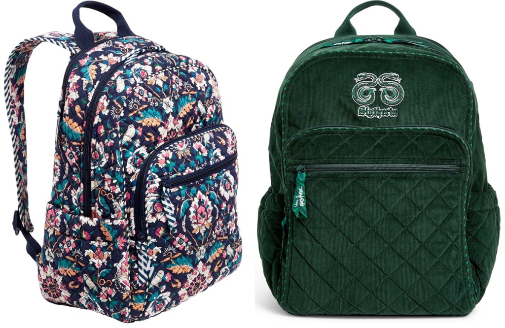 floral print backpack with harry potter motifs and green backpack with slytherin logo