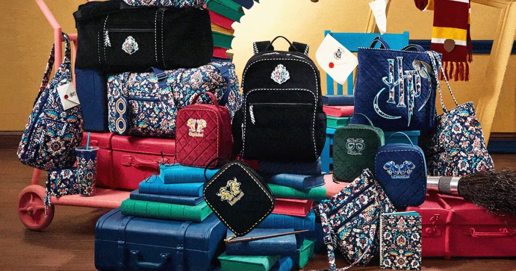 various backpacks, tote bags, and lunch bags from vera bradley harry potter collection placed on top of colorful books