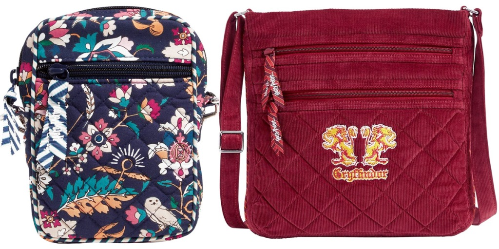 two small crossbody bags, one in floral print with harry potter motifs, and one red with gryffindor logo