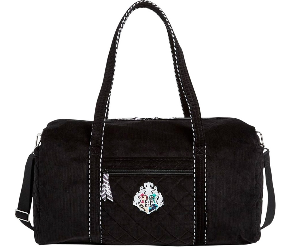 black travel duffle bag with harry potter house crest