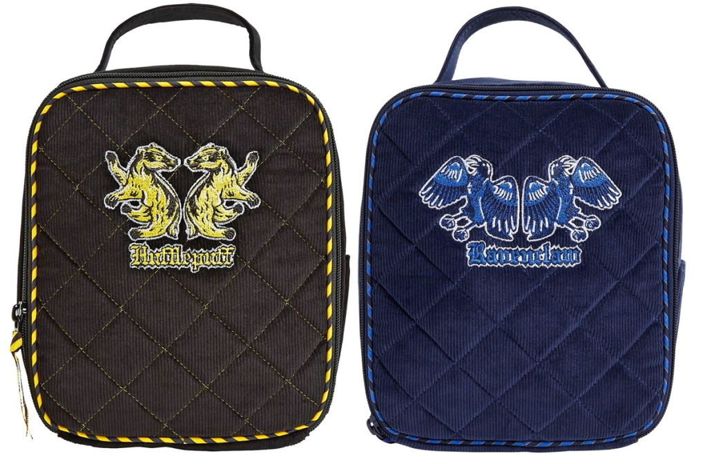 black lunch bag with yellow hufflepuff logo and blue lunch bag with ravenclaw logo