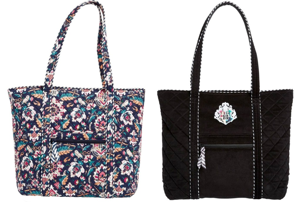 tote bag with floral print and black tote bag with hogwarts house crest