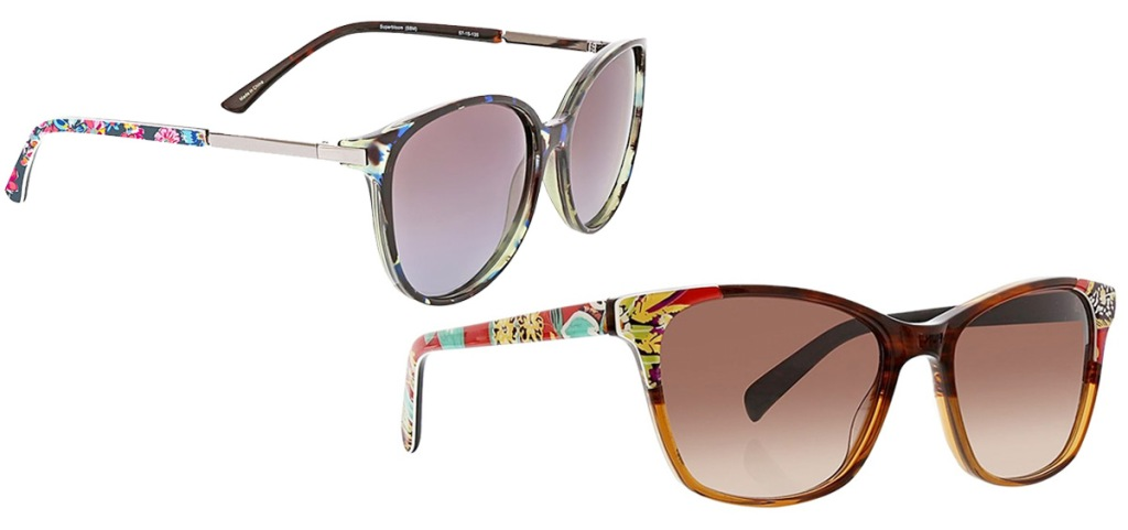 two pairs of oversize sunglasses with floral print on arms