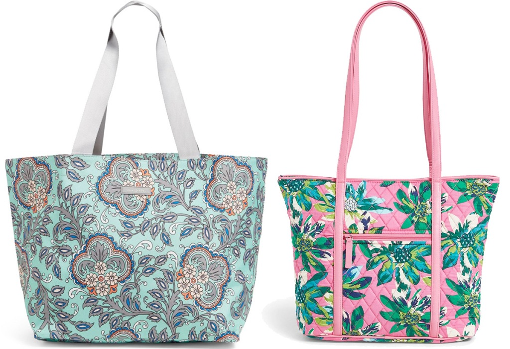 two tote bags with floral prints in light blue and pink colors
