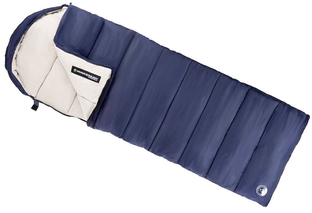 navy blue sleeping bag with hood and cream colored interior
