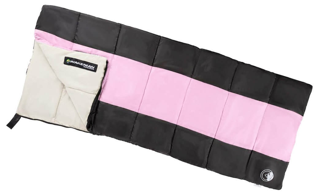 black sleeping bag with pink stripe and cream colored interior