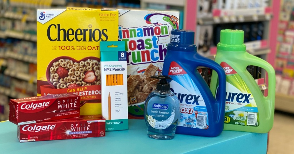 Colgate toothpaste, General Mills cereal, Softsoap hand soap and Purex laundry detergent