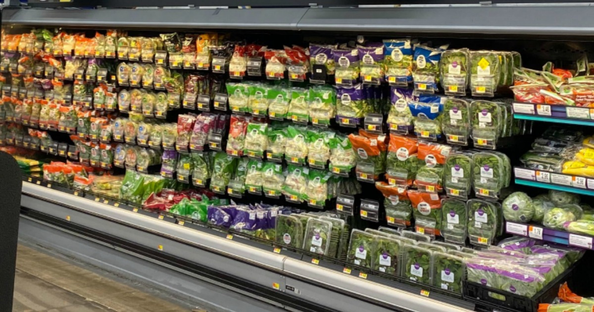 Large in-store bagged salad display